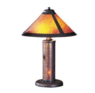 """Price: $99.30 Cal Lighting BO-466 80 Watt 20 Craftsman / Mission Table Lamp with On/Off Switch, Night Light and Round Mica Shade - 80 Watt 20"""" Craftsman / Mission Table Lamp with On/Off Switch, Night Light and Round Mica Shade  Uses (2) 40 watt medium base incandescent bulbs (Not Included)Product dimensions: 20""""H x 15""""WShade crafted from mica materialShade dimensions: 8.5""""H x 15""""W"""