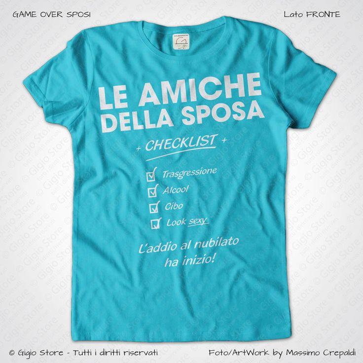 Magliette Addio al Nubilato Amiche della Sposa T-Shirt colore Turchese Stampa Personalizzata Bianco Taglia XS, S, M, L, XL