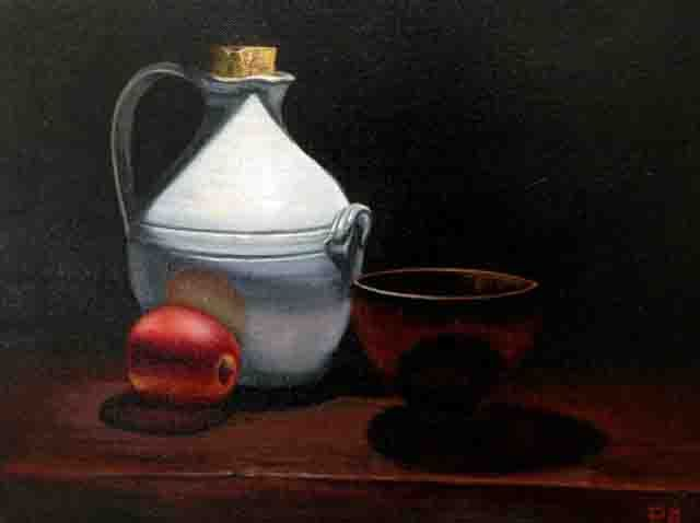 Peter Barker Port Jug with Apple and bowl 30x40cm Oil on Canvas