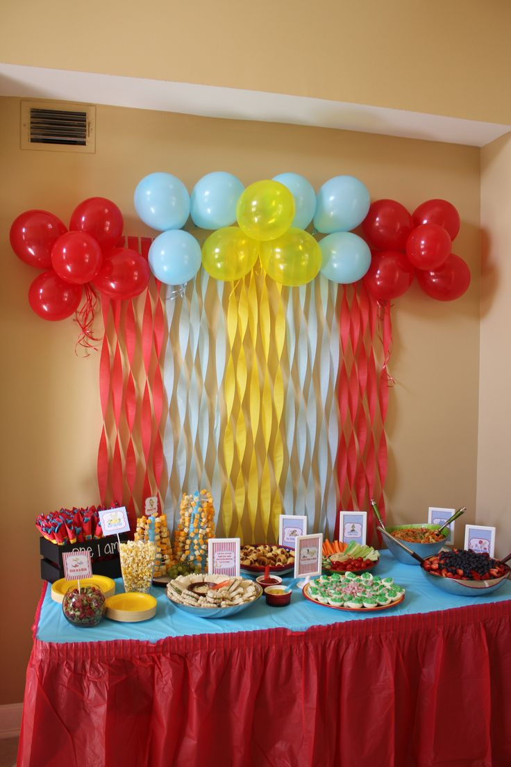 Here was our food table decor from matthew 39 s 1st birthday for Balloon decoration for 1st birthday party