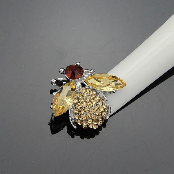 SEXY WOMAN Bee Brooch Enamel Esmalte Animal Brooch Gold-color Crystal Brooch Women Jewerly Scarf Suit Brooch Button Buckle