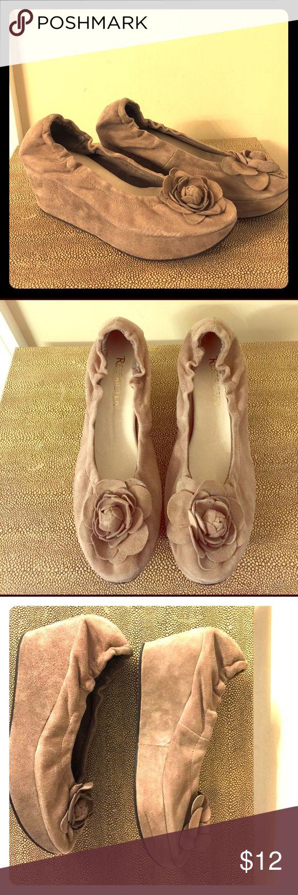 Restricted Women's Slide on Soft Platform Shoe Soft beige suede woman's platform shoe made by Restricted. Elastic back at heel.  Super cute and comfy. Restricted Shoes Platforms