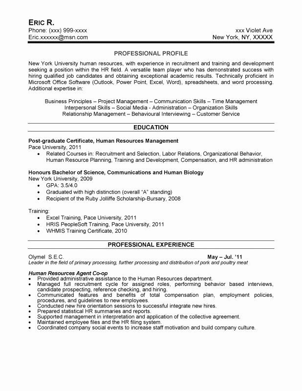 Human Resources Coordinator Resume Unique Samples New York Resume Writing Service In 2020 Human Resources Resume Hr Resume Job Resume Samples