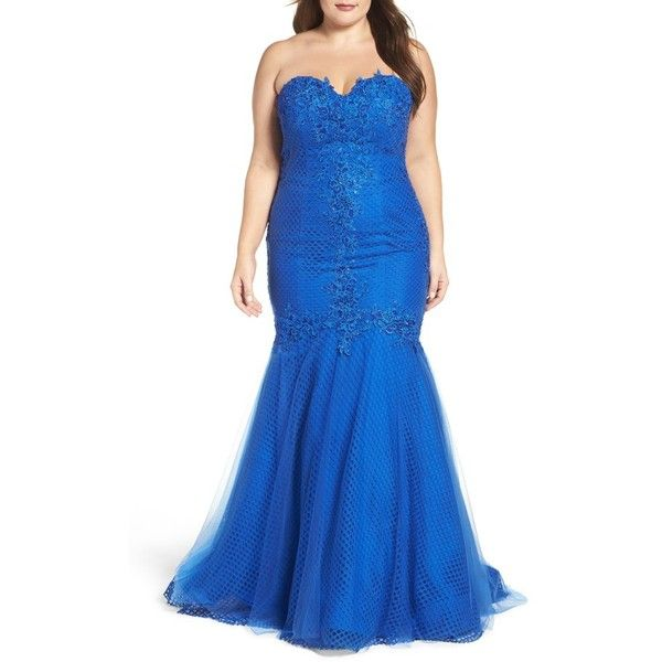 Plus Size Women's Mac Duggal Embellished Applique Strapless Mermaid... ($538) ❤ liked on Polyvore featuring plus size women's fashion, plus size clothing, plus size dresses, plus size gowns, electric blue, plus size, blue corset, floral gown, royal blue evening gown and royal blue corset