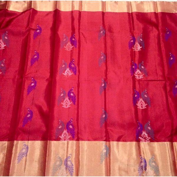 Buy KSS7500015-THAMBOORI's Handwoven Pure Soft Kanchivaram with meenakari weave-Red Blue beauty, 700g online - Handwoven Kanchivarams,Soft Silks, Silk Cottons and Tussars!