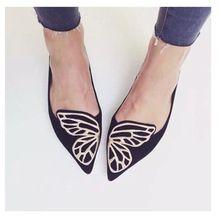 2016 marca moda mujeres de los holgazanes pisos punta estrecha zapatos mujer Slip on Suede bordado de la mariposa Oxfords negro rosa más Size40(China (Mainland))