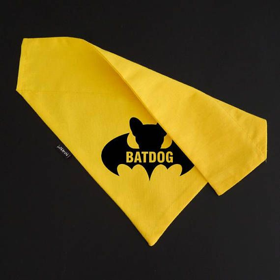 Dog Bandana BATDOG Yellow Collar Neckerchief slide on collar