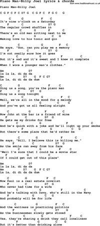 Love Song Lyrics for:Piano Man-Billy Joel with chords.
