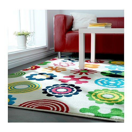 LUSY BLOM Rug, low pile IKEA The polypropylene fibers have been heat treated to give the rug a firm and resilient pile. -- cute for a kids room or play room
