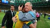 Luiz Felipe Scolari head coach of Brazil embraces Neymar - FIFA.com