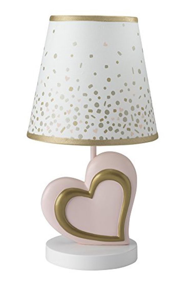 Lambs Ivy Confetti Heart Lamp With Shade Bulb Pink Gold