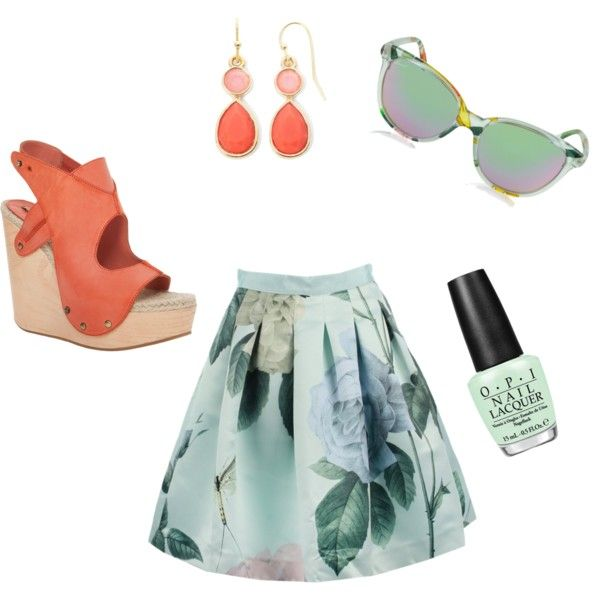 Coral+mint2 by clers2009 on Polyvore featuring мода, Ted Baker, Max Studio, Liz Claiborne, Gucci and OPI