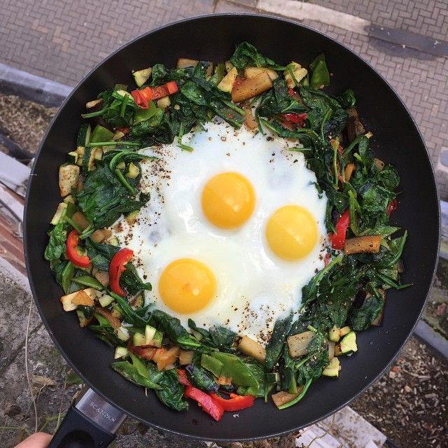 What's your favourite breakfast? Try these eggs cooked in Lucy Bee Coconut oil with spinach and veg #LeanIn15 #FatsMeUp