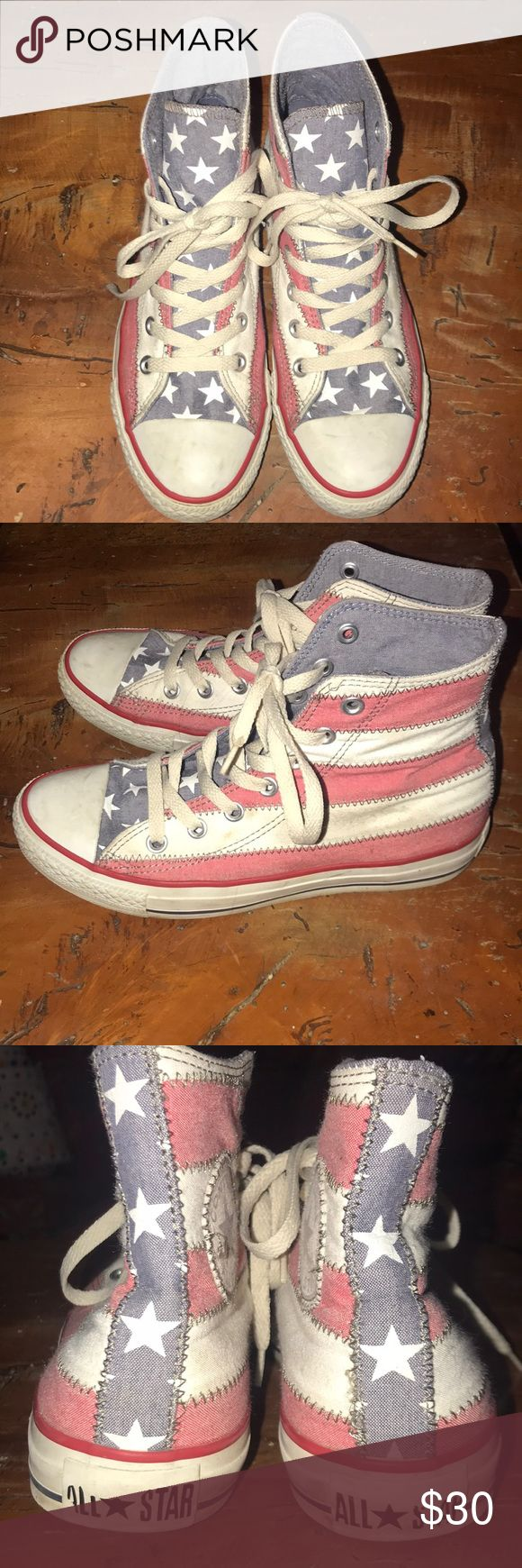 American Flag Converse Really cool American Flag Converse. Worn only a few times. Fits true to size. Converse Shoes Sneakers