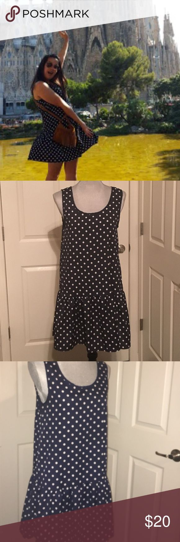 "💖SALE Cute Polk a dot drop waist dress It's navy and white. Drop waist. Seriously one of my favorite dresses but time to part with it :( it's 100% polyester. The brand is ""dee ella"" but I bought at Nordstrom. Made in the U.S. You won't find it anywhere. Still has a lot of life, and I'm going to miss it. 🚫low balling🚫 NO TRADES🚫 Nordstrom Dresses"