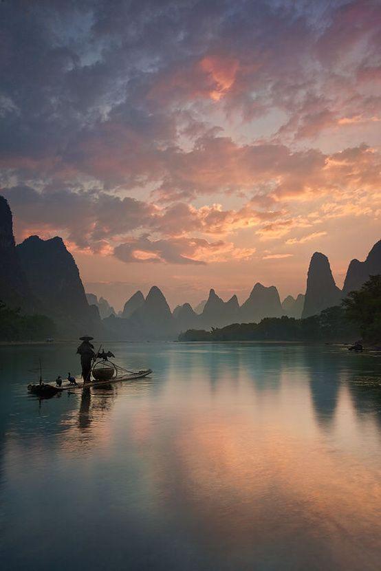 Amazing view of sunrise at lugu lake Lijiang  #China. . .