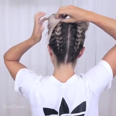 How to make Space Buns tutorial , We like this hair style sooo badly😍 It's the best hairstyle for hot summer!! Have you ever tried this hair style before?🤩🤩😌 Video from @hairtutnet #dutchbraid #frenchbraids #braided #braidedupdo... ,  #Buns #Space #Tutorial