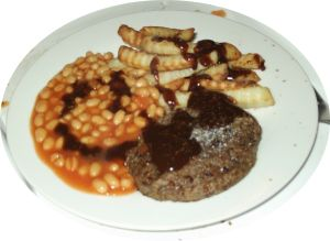 Baked beans, Brown sauce and Burgers on Pinterest