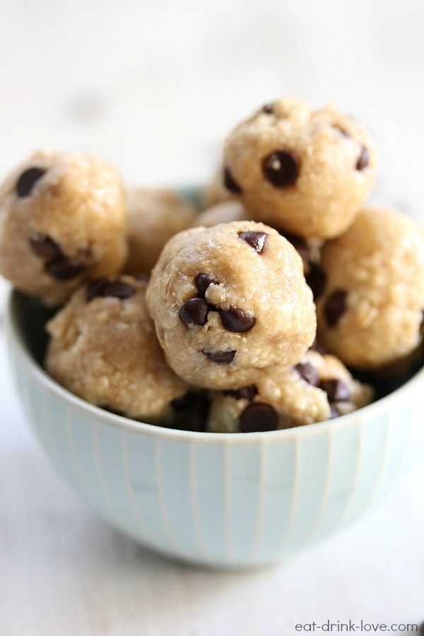 Chocolate Chip Cookie Dough Bites (made healthier!) by Eat. Drink. Love.