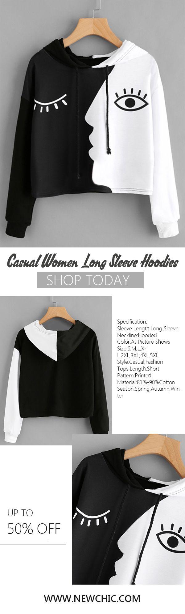 [Newchic Online Shopping] 46%OFF Casual Face Print Hoodies for Women #hoodie #womenswear #womensfashion #tops