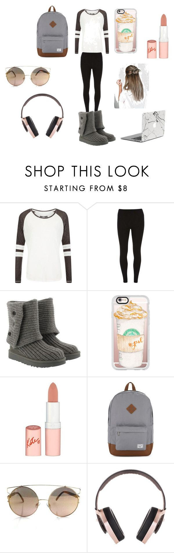 """Airplane Outfit/Essentials"" by sammydancer2010 on Polyvore featuring Superdry, Dorothy Perkins, UGG, Casetify, Rimmel, Herschel Supply Co. and Pryma"