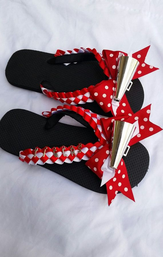Personalized Cheerleader Flip Flops  by MumAMia3 on Etsy #Cheer #CraftShout