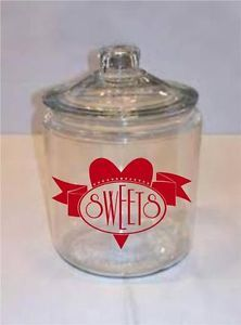 Sweets Vinyl Decal Sticker Words Letters Valentines Decor Gift Candy Jar Dish