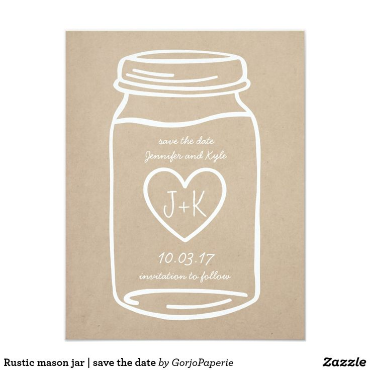 Rustic mason jar | save the date card