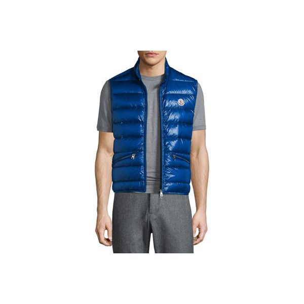 Moncler Gui Lightweight Quilted Puffer Vest ($550) ❤ liked on Polyvore featuring men's fashion, men's clothing, men's outerwear, men's vests, blue, mens puffy vest, mens blue vest, mens quilted vest, mens puffer vest and mens vest outerwear