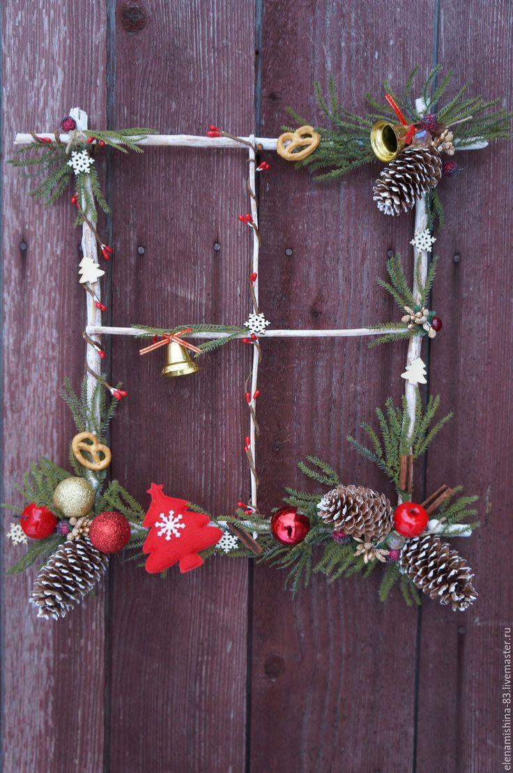 """Купить Новогоднее панно,венок на дверь """"Праздник за окном"""" - комбинированный, новогодний декор"""