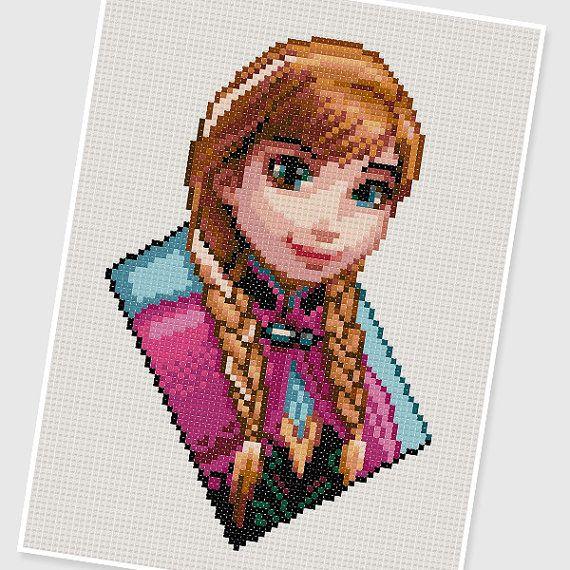 PDF Cross Stitch pattern 0206.Princess Anna (Frozen) by PDFcrossstitch