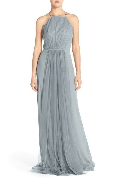 Monique Lhuillier Bridesmaids Chiffon & Tulle Halter Gown available at #Nordstrom