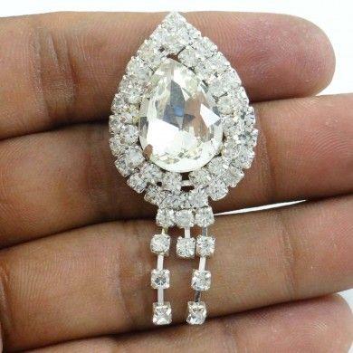 Silver Tone Rhinestone CZ Fringe Pin Broach/Brooch Dress Accessory Gift For Her