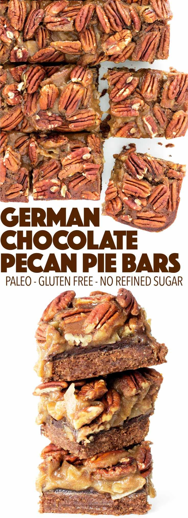Pecan pie meets German chocolate cake! This healthy holiday dessert is perfect for Thanksgiving or Christmas. Paleo, gluten free, and dairy free!
