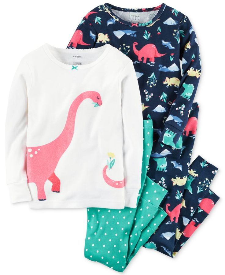 Mix and match massively-cute bedtime ensembles with this four-piece Carter's pajama set with a colorful dinosaur theme. | Cotton | Machine washable | Imported | Graphic top: bow at picot crew neck; ri