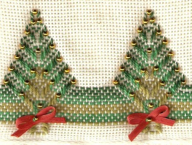ponto oitinho passo a passo | Bordado Passo a Passo: Árvore de Natal bordada em vagonite