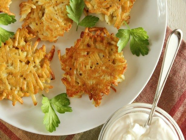 Super Simple Latkes (Potato Pancakes)This latkes recipe from Food.com calls for frozen shredded potatoes so youll save time in the kitchen.