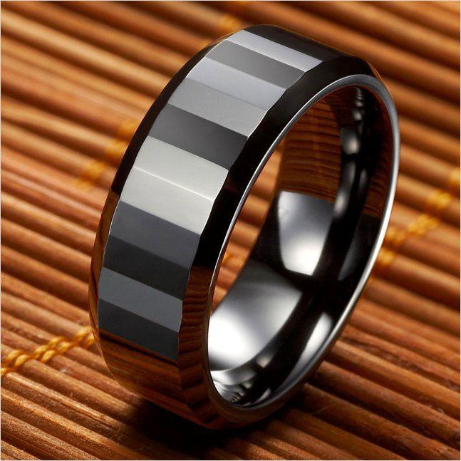 High Polish Ceramic Mens Ring Black Wedding Band 8mm | RnBJewellery | js | Pinterest | Ring, Weddings and Black
