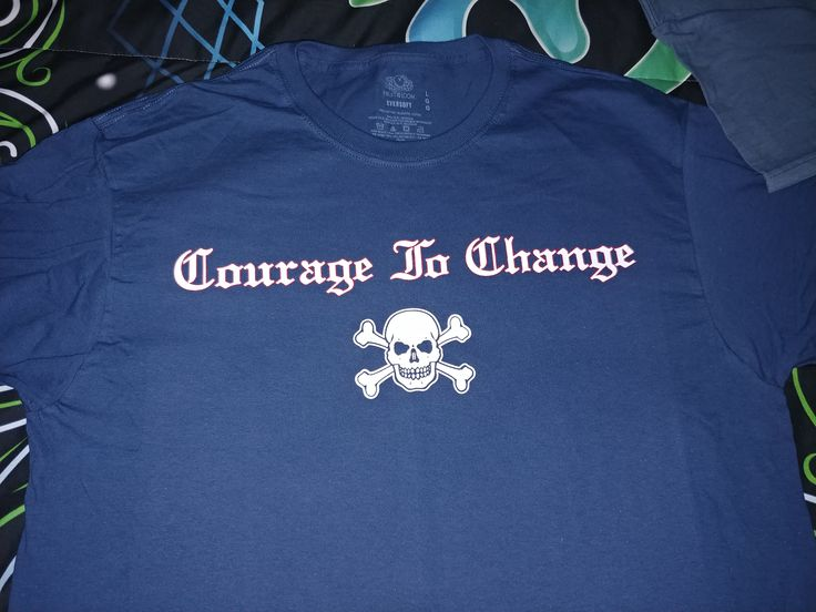 Excited to share the latest addition to my #etsy shop: Courage to Change Skull Large Blue/grey color shirt http://etsy.me/2Hi5Zug #clothing #shirt #l #sober #sobriety #recovery #skull #tshirt #blue