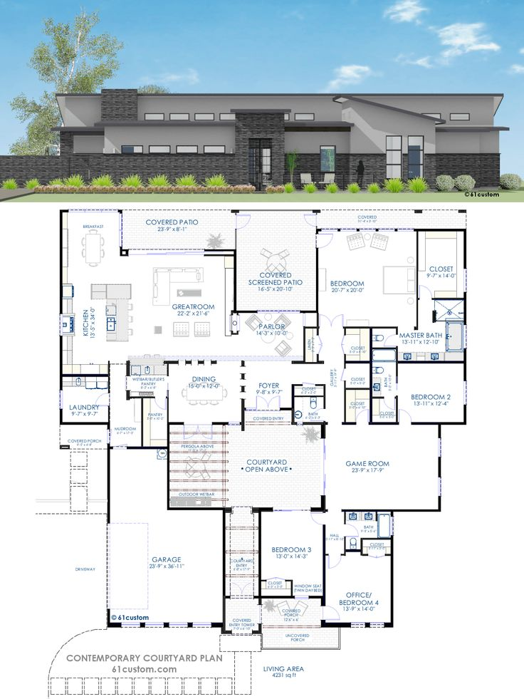 Best 20 Courtyard House Plans Ideas On Pinterest One Floor House Plans Fl