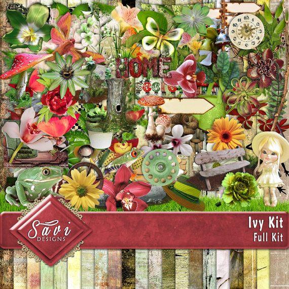 Digital Scrapbooking Kit Ivy Garden foliage by SaviByDesign