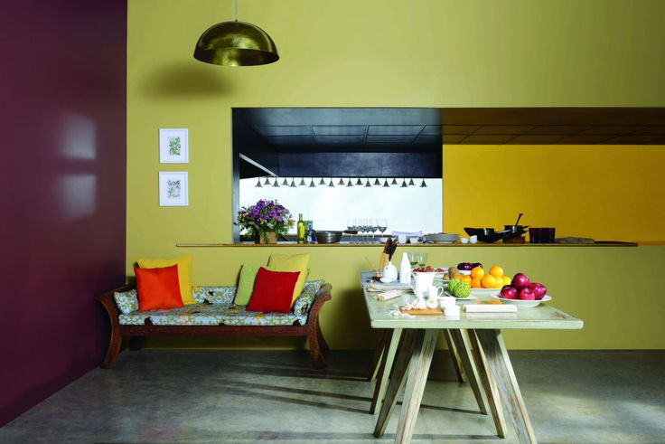 Palette inspired from Food. Wall Paint by Asian Paints- Cheeky yellow 7902, Wood Fence 8504, Vine yard 8709.