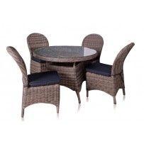 """Set da pranzo 4 posti mod. """"Teano"""" in rattan sintetico intrecciato a mano e struttura di alluminio. Set dotato di quattro sedie con cuscini per la seduta."""