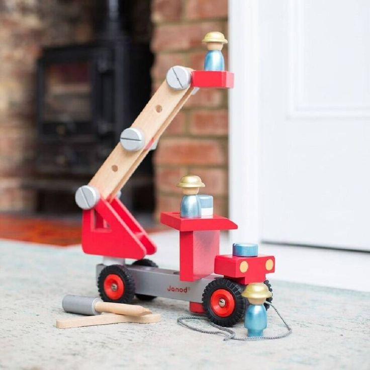 Personalised DIY Wooden Fire Engine  This fire truck is a great gift for any child that loves to build things. It can be taken apart and rebuilt over and over again, aiding dexterity and motor skills. It comes with a chunky spanner and screwdriver, lots of nuts and bolts, and 3 firefighters.