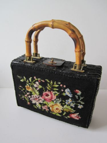 Vintage Straw Purse Floral Tapestry Art Bamboo Handles Brass Hardware