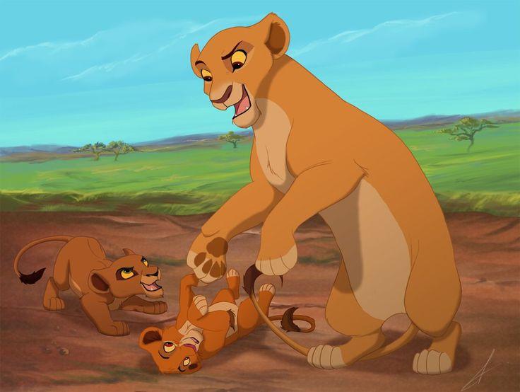 Kiara and a version of her cubs, Chaka and Shani