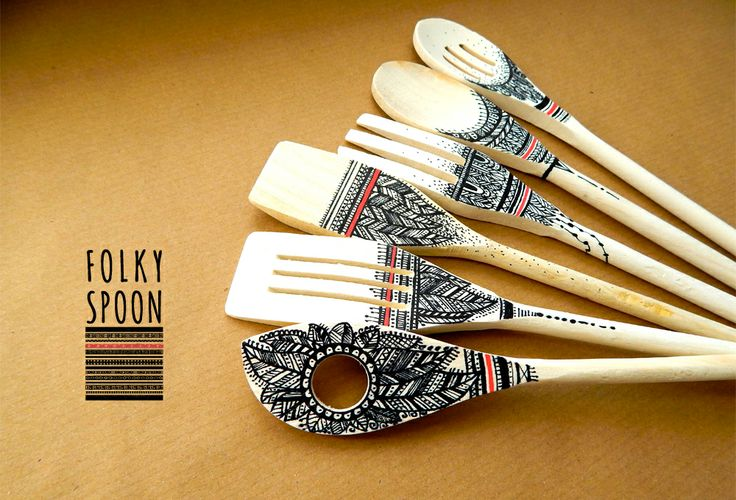 wood spoons & hand painting art by ivvi