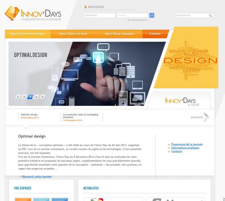 Site web des INNOV DAYS, marque de l'offre de formation commune au PEP et au centre de formation de la plasturgie. Site créé en parallèle avec l'identité visuelle de la marque - 2012