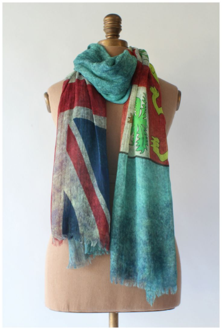 Fiji's flag exudes the tropical vacation feel. Wear it and feel relaxed.  Flag scarf by GUGU International.