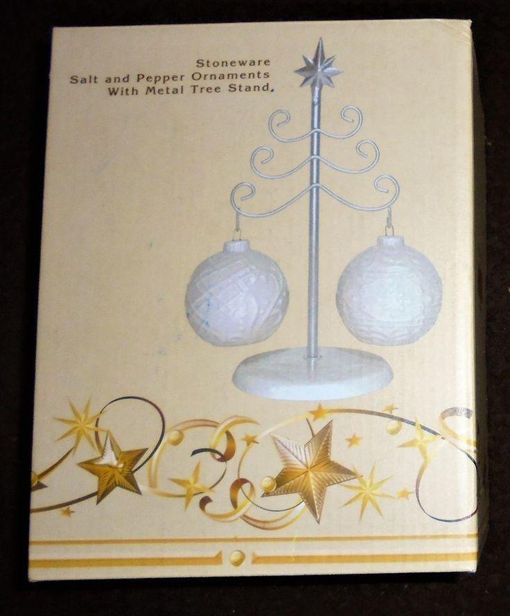 Cracker Barrel Christmas Ball Ornament Salt Pepper Shaker Set Silver Tree Table #ChristmasTree #Tableware #HolidaySpirit #CrackerBarrel